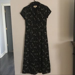 Casual Corner Annex Long Dress Black White Floral